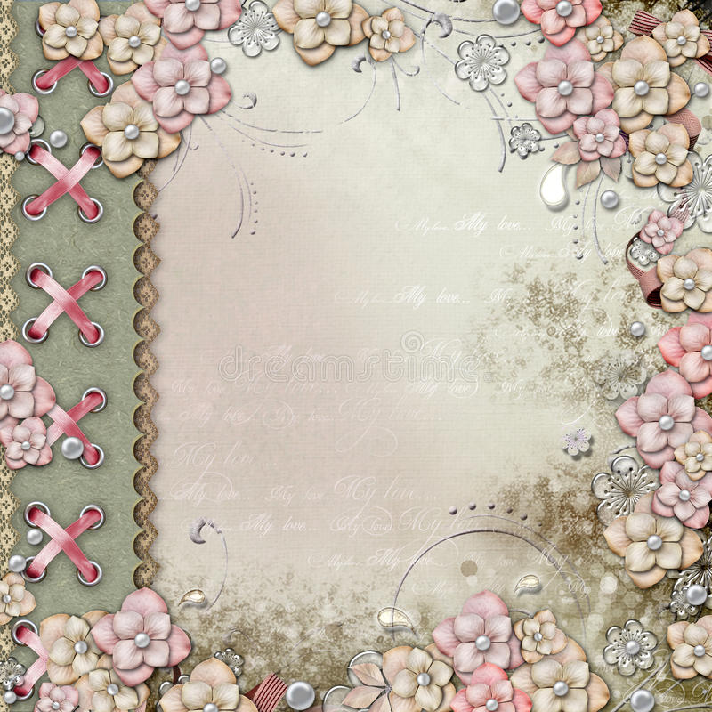 Oude decoratieve albumdekking met bloemen en parels stock illustratie