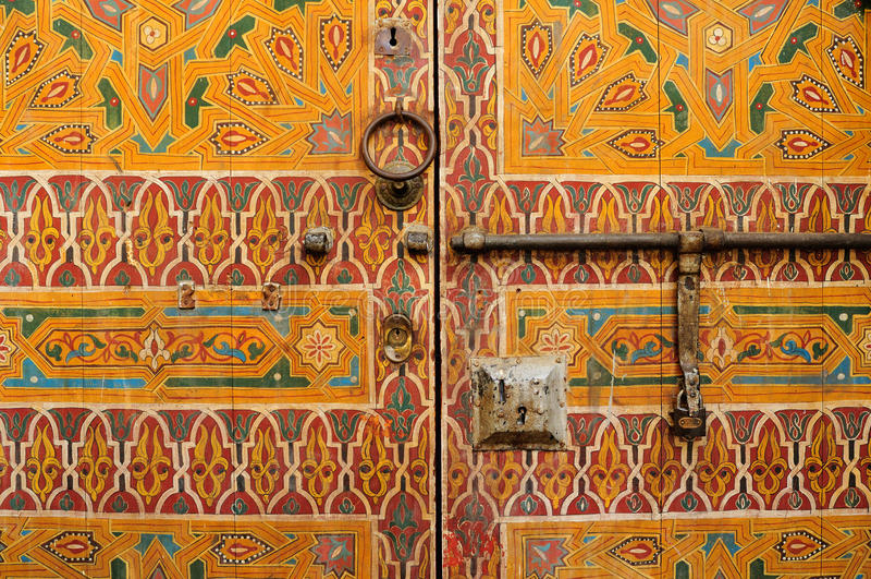 Oude deur, Marokko royalty-vrije stock afbeeldingen