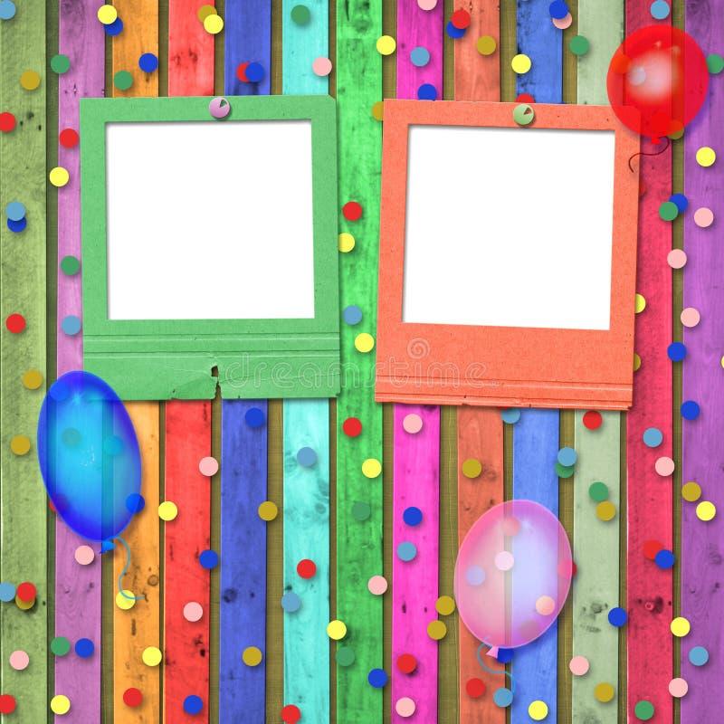 Oude dia's met ballons en confettien stock illustratie