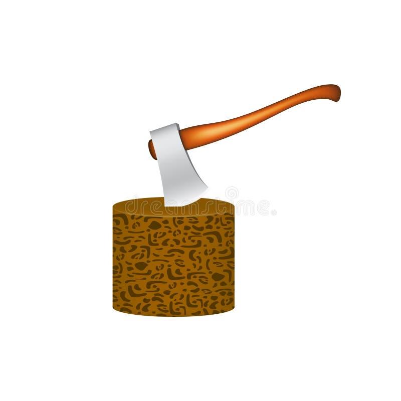 Oude die bijl in houten blok wordt geplakt vector illustratie