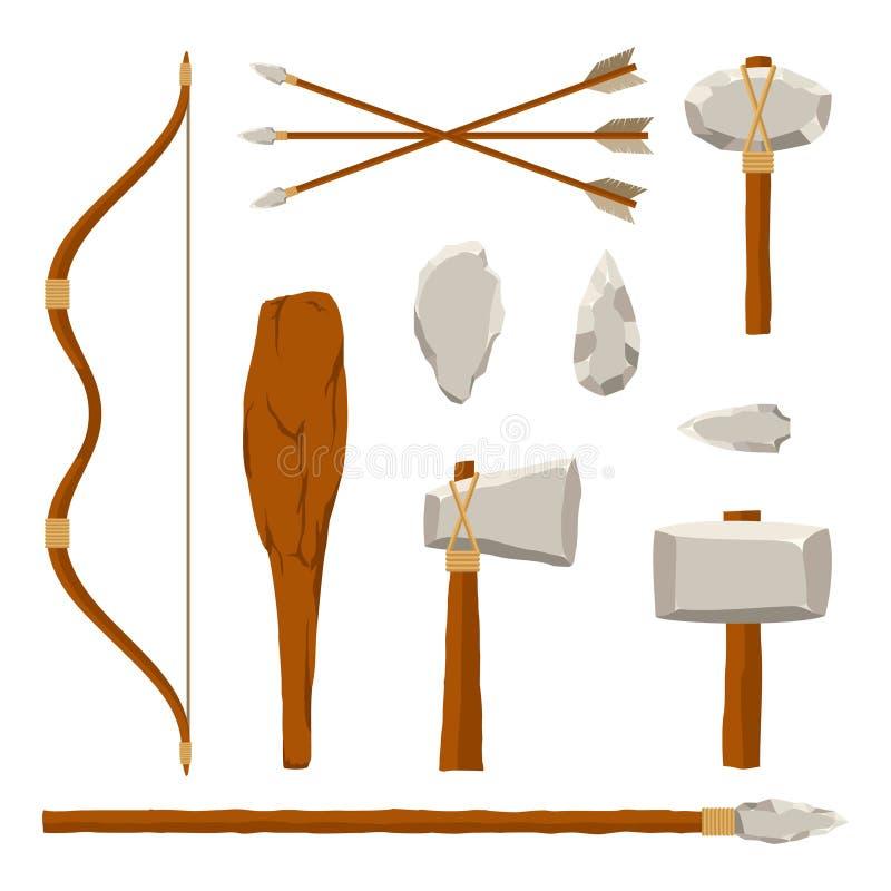 Oude die hulpmiddelenreeks op witte achtergrond wordt geïsoleerd Jagende en militaire wapen voorhistorische mens Primitief cultuu royalty-vrije illustratie