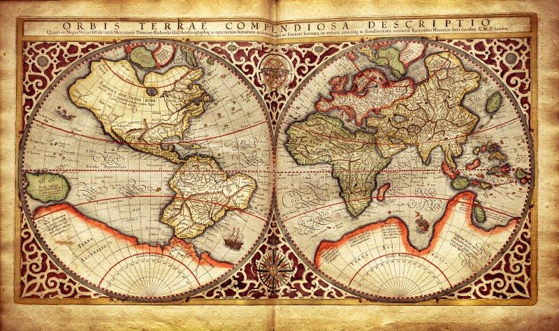 Oude die kaart van de wereld, in 1587 wordt gedrukt stock foto's