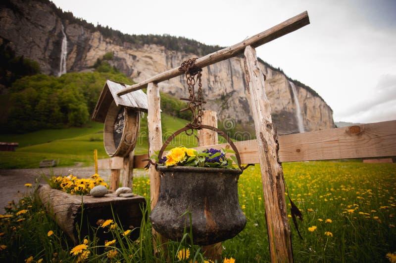 Oude die ketel met bloemen wordt verfraaid royalty-vrije stock afbeeldingen