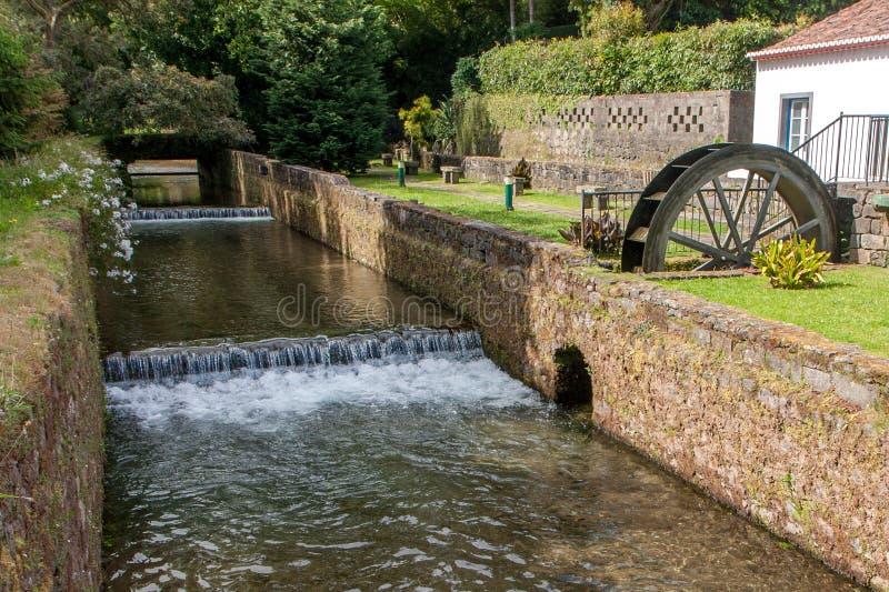 Oude die molen met een stroom in een steenkanaal wordt ingesloten met metselwerk royalty-vrije stock afbeelding