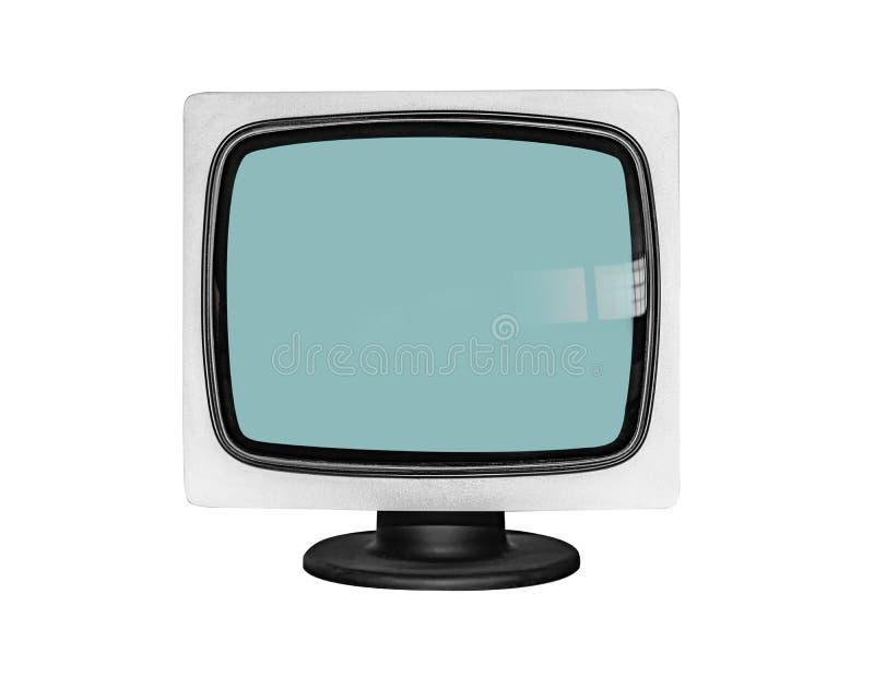 Oude die monitor of Televisie op witte achtergrond wordt geïsoleerd royalty-vrije stock foto
