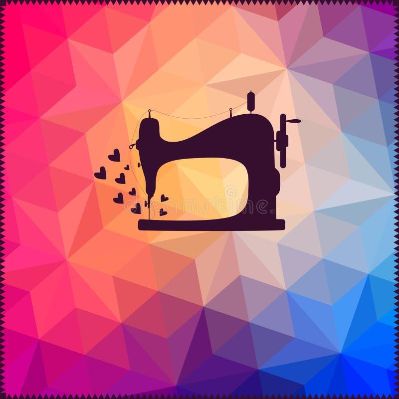 Oude die naaimachine op hipsterachtergrond van driehoeken wordt gemaakt met vector illustratie