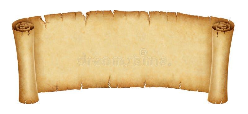Oude die rolbanner op witte achtergrond wordt geïsoleerd stock illustratie