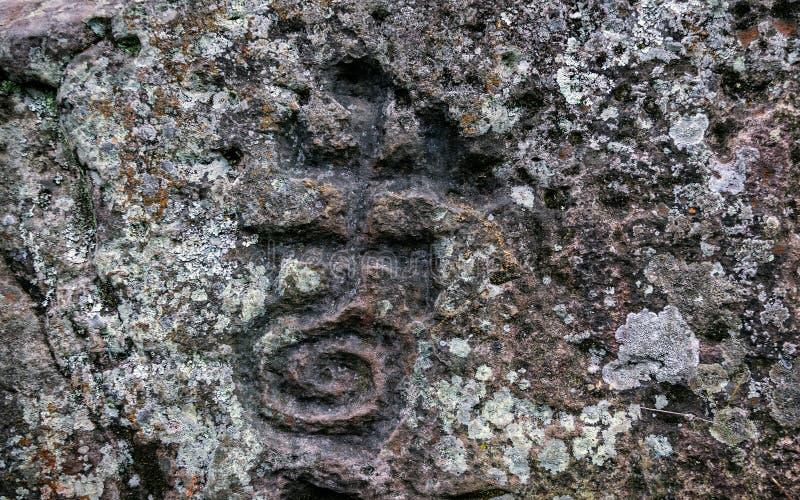 Oude die rotstekeningen door de Carib-stammen D worden gesneden royalty-vrije stock foto's