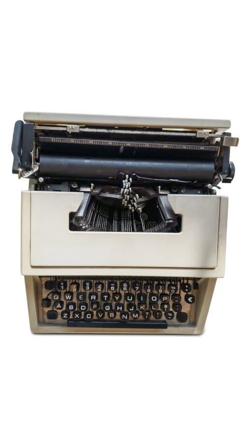 Oude die schrijfmachine op witte achtergrond wordt geïsoleerd royalty-vrije stock afbeeldingen