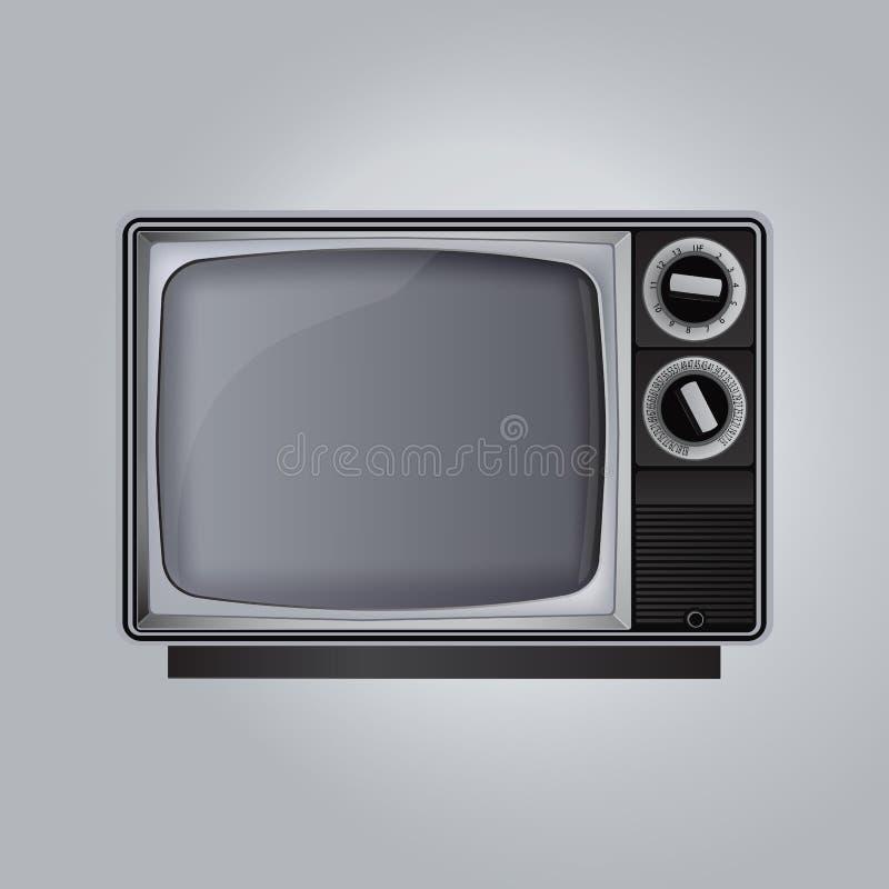 Oude die Televisie op grijze achtergrond wordt geïsoleerd vector illustratie