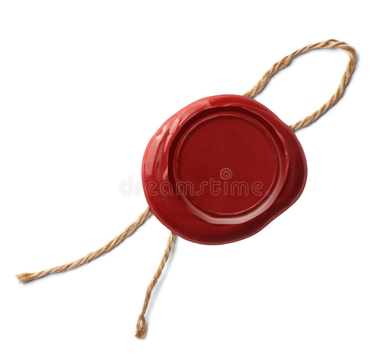 Oude die verbinding of zegel van rode geïsoleerde was wordt gemaakt royalty-vrije stock afbeeldingen