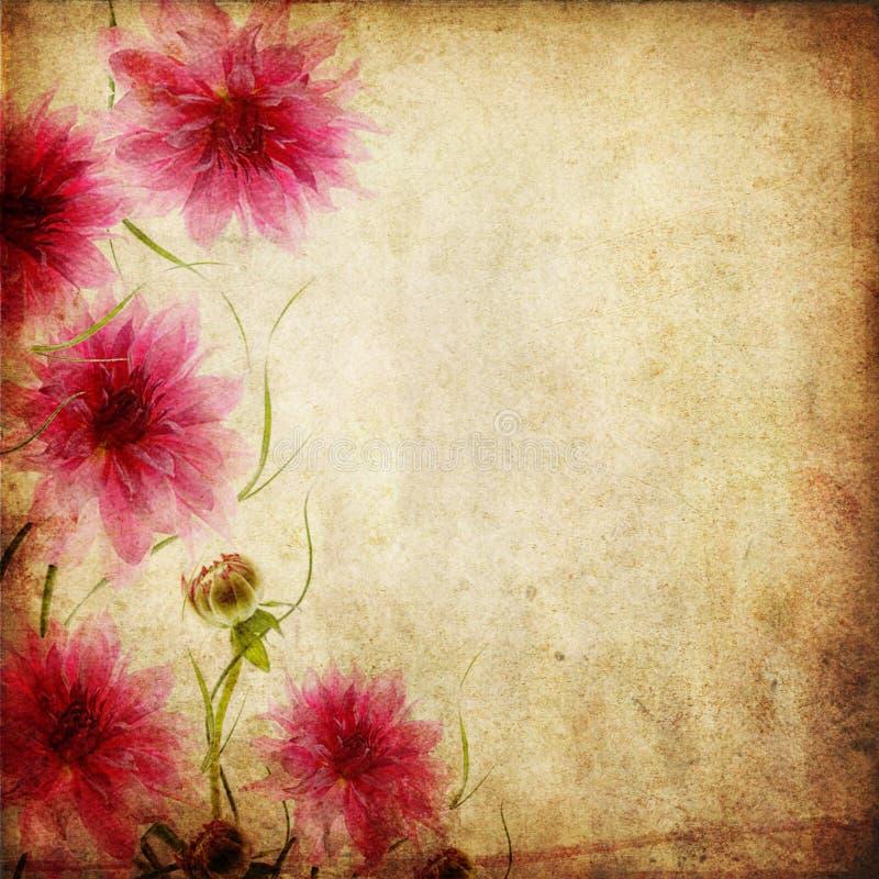 Oude document achtergrond met bloemen royalty-vrije illustratie