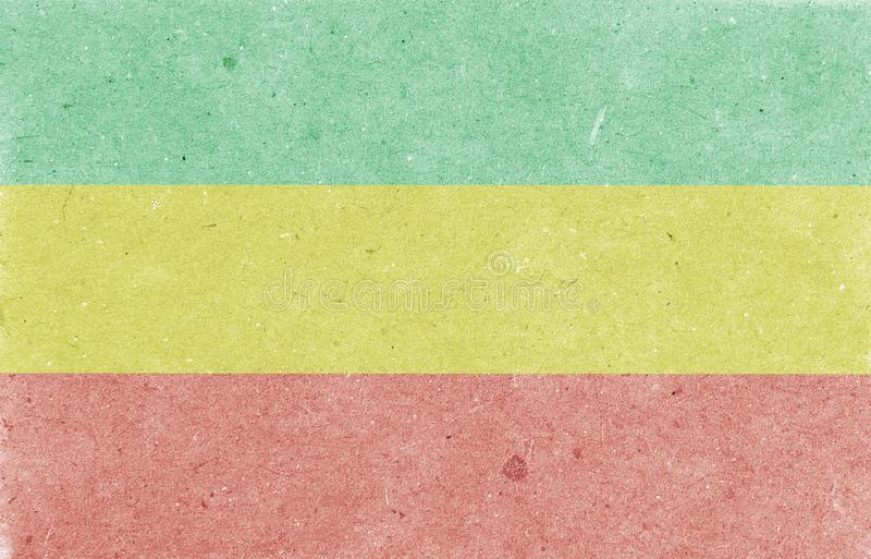 Oude document achtergrond Rastafarian horizontale vlag, textuur, roosterillustratie royalty-vrije stock foto's