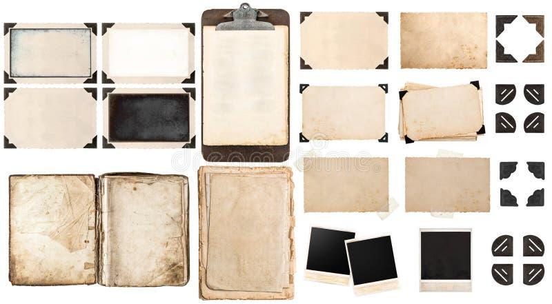 Oude document bladen, boek, uitstekende fotokaders en hoeken, antiqu stock fotografie