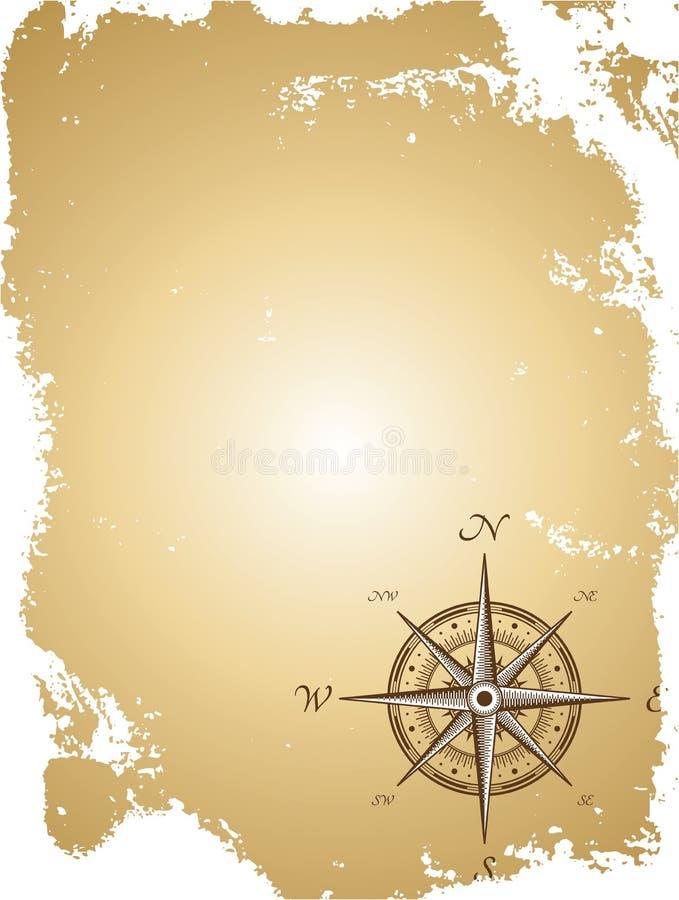 Oude document kaart met kompas. Vector illustratie vector illustratie