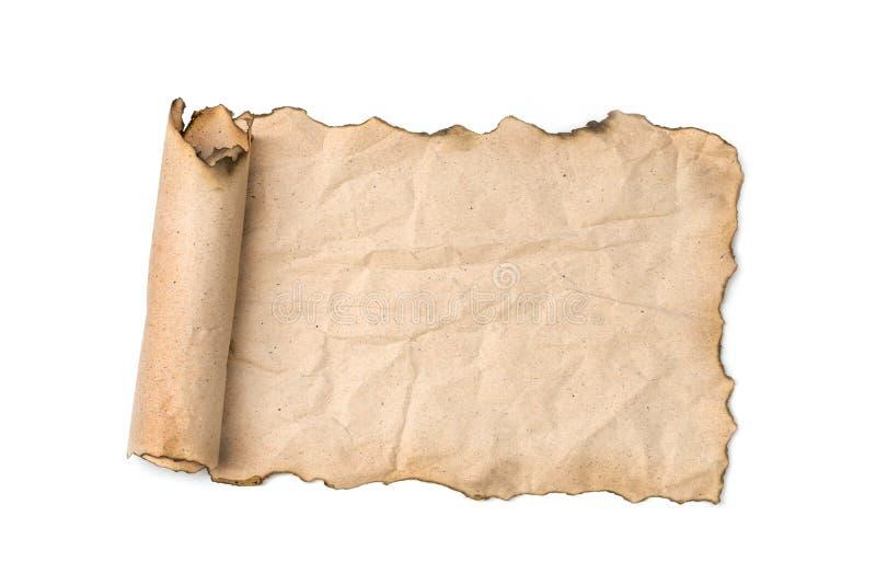 Oude document rol die op wit wordt geïsoleerdu royalty-vrije stock foto