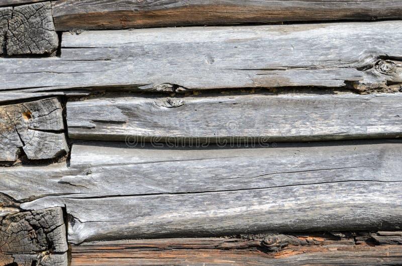 Oude Doorstane Natuurlijke Blokhuis Verouderde het Fragmenttextuur van de Muurvoorgevel stock afbeelding