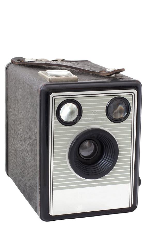 Oude dooscamera op middelgroot geïsoleerd formaat stock foto