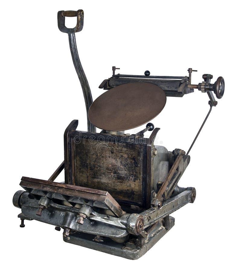 Oude drukmachine stock afbeeldingen