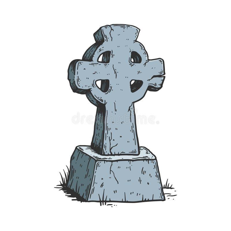 Oude dwars de schetsgravure van de grafsteenkleur stock illustratie