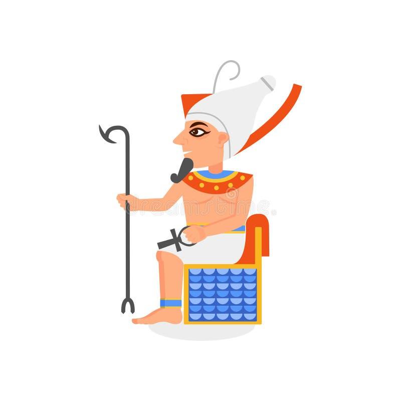 Oude Egyptische farao die op troon met scepter en ankh kruis zitten Mens met baard en hedjet kroon op hoofd vlak vector illustratie