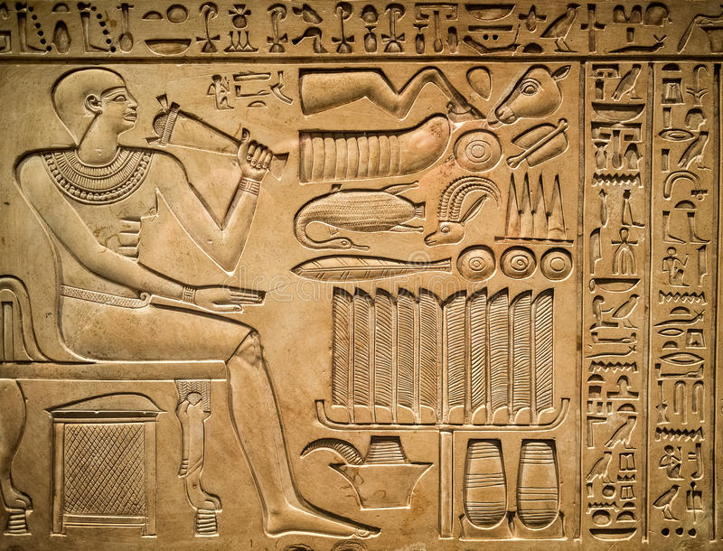 Oude Egyptische hiëroglief stock foto
