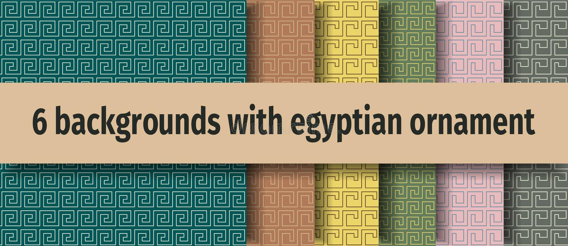 Oude Egyptische naadloze achtergronden stock illustratie