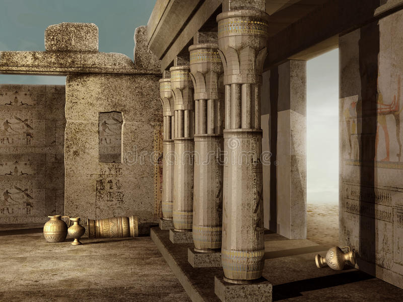 Oude Egyptische ruïnes royalty-vrije illustratie