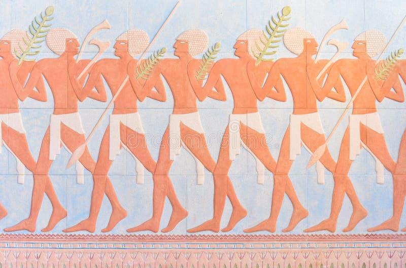 Oude Egyptische strijdersmuurschilderijen royalty-vrije stock foto