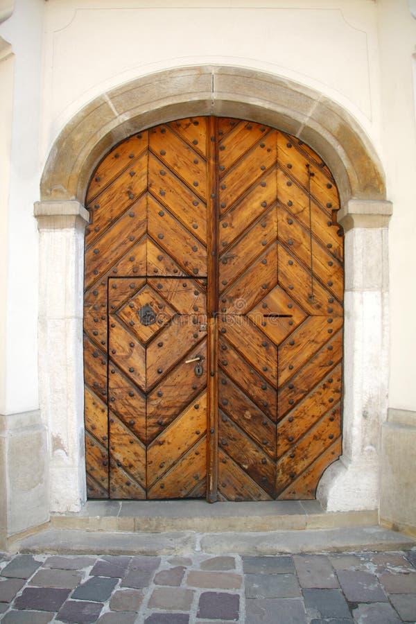 Oude eiken deur royalty-vrije stock foto
