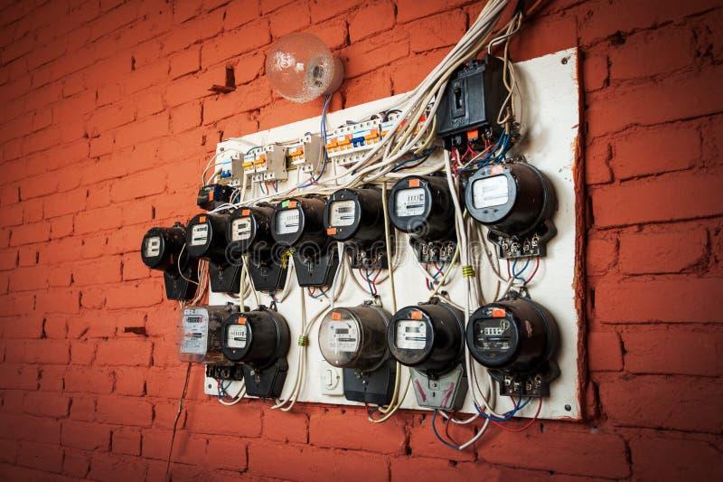 Oude elektrische meters royalty-vrije stock foto's