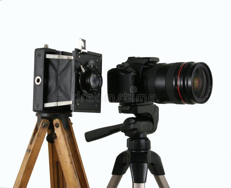 Oude en nieuwe camera stock foto's