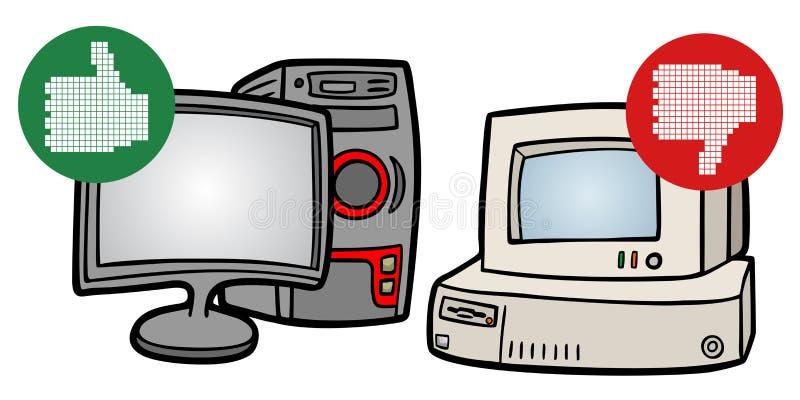 Oude en nieuwe computer stock illustratie