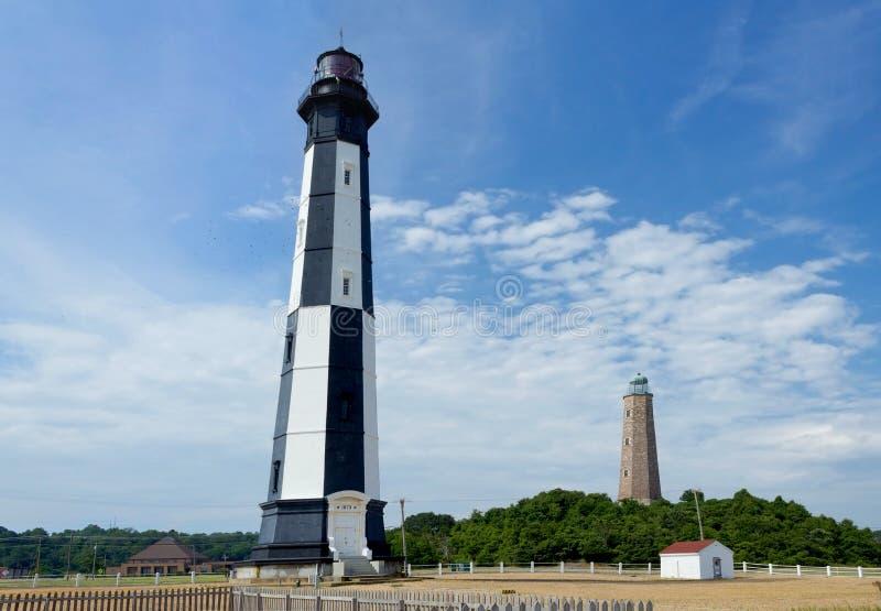 Oude en Nieuwe Kaap Henry Lighthouses in Virginia Beach stock foto