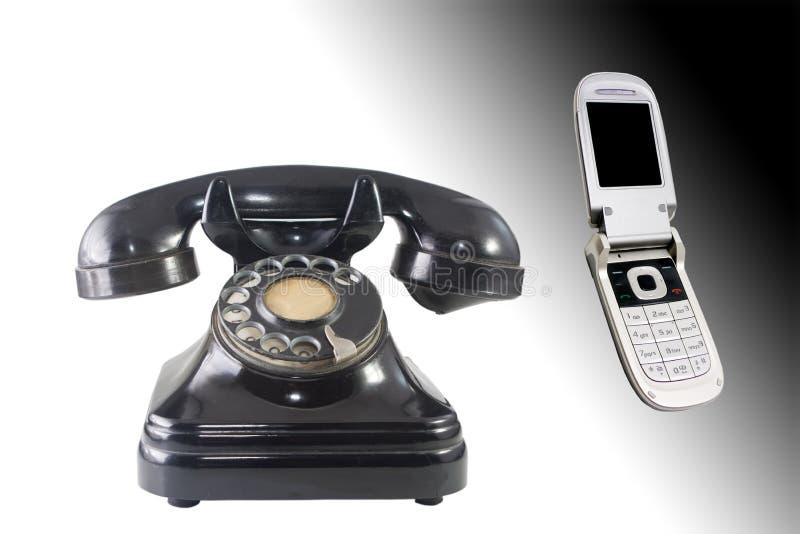 Oude en nieuwe telefoons royalty-vrije stock foto