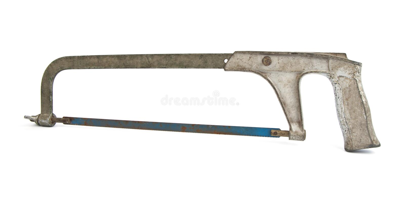 Oude en roestige crosscut handsaw stock afbeelding