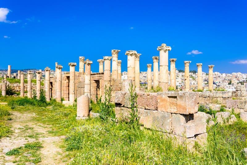 Oude en roman ru?nes van Jerash Gerasa, Jordani? stock afbeeldingen