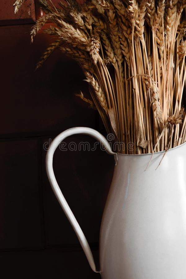Oude en witte rustieke waterkruik met droge rogge voor bruine muur stock foto's
