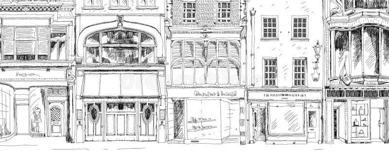 Oude Engelse rijtjeshuizen met kleine winkels of zaken op benedenverdieping Bandstraat, Londen schets stock illustratie
