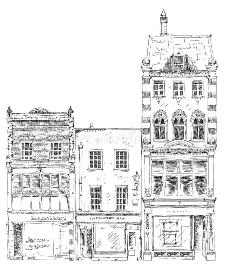Oude Engelse rijtjeshuizen met kleine winkels of zaken op benedenverdieping Bandstraat, Londen schets vector illustratie