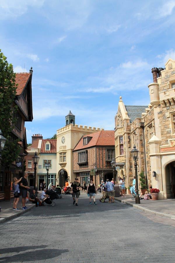 Oude Engelse stad in het paviljoen van landen in Epcot royalty-vrije stock afbeeldingen