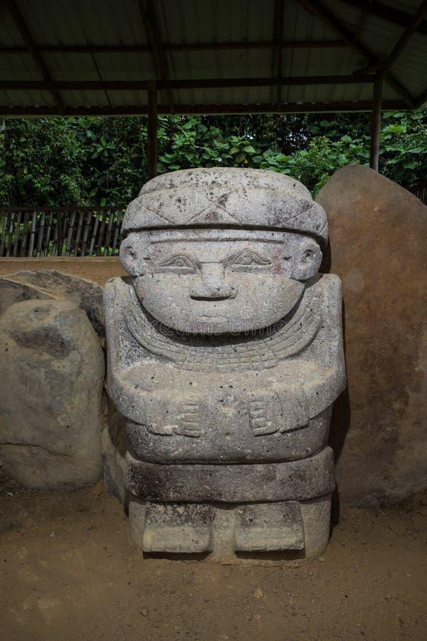 Oude ernstige standbeeldclose-up in Colombia royalty-vrije stock fotografie