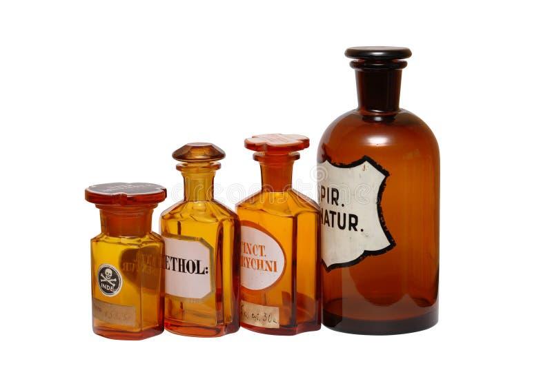 Oude Farmaceutische Fiolen royalty-vrije stock afbeelding