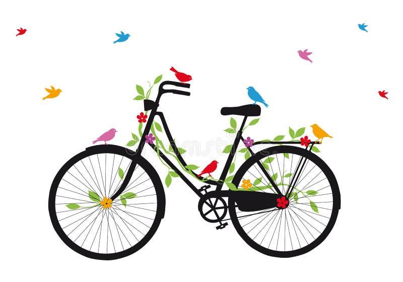 Oude fiets met vogels, vector royalty-vrije illustratie