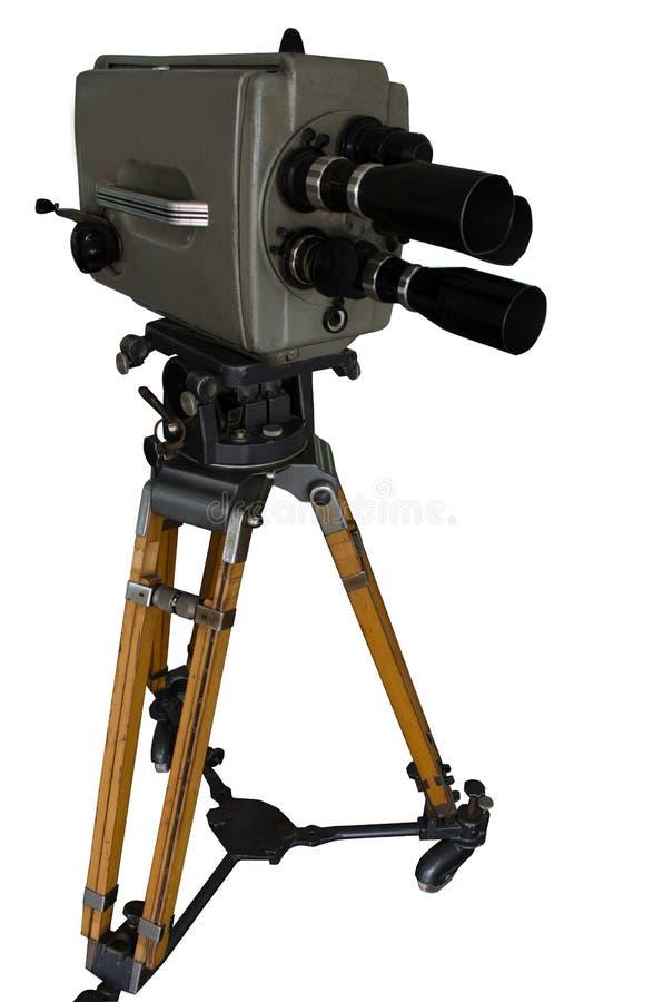 Oude film en televisiecamera 16 mm met drie lenzen stock fotografie