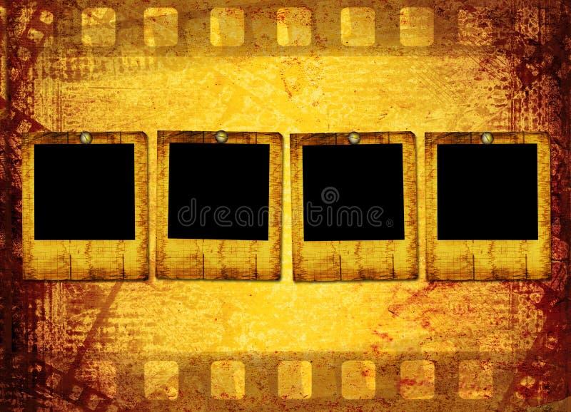 Oude filmstrip op het document stock illustratie