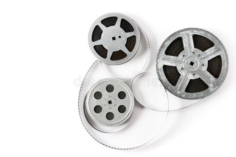Oude filmstrook op witte achtergrond Hoogste mening royalty-vrije stock foto