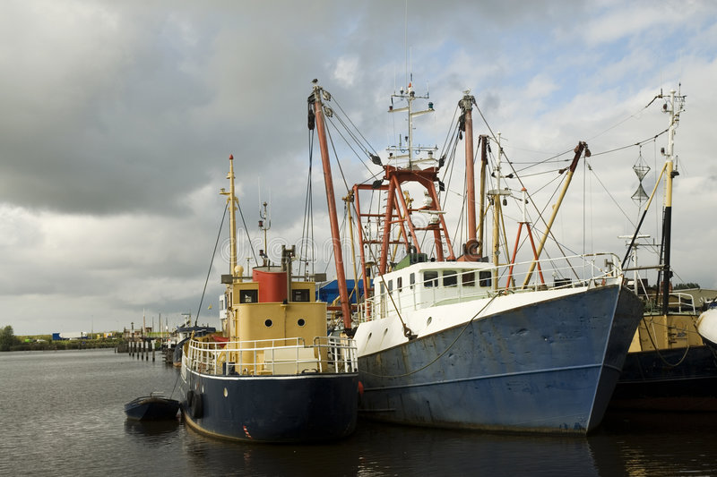Oude fisher-boats royalty-vrije stock afbeelding
