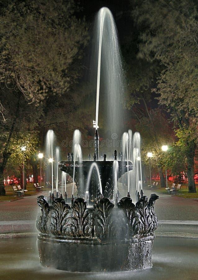 Oude fontein bij nacht in het park royalty-vrije stock afbeelding