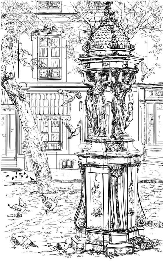 Oude fontein in Montmartre - Parijs royalty-vrije illustratie